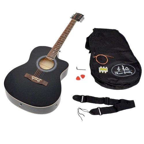 Elektro Akustik Westerngitarre schwarz mit Pickup Tonabnehmer und Zubehörset: gepolsterte Gitarrentasche, Gurt, Stimmpfeife und Ersatzsaiten