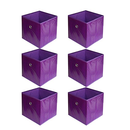 6 pcs Home Storage Bin Household Organizer Fabric Cube Foldable Basket Containe - Purple Dots + FREE E - (Miniature Storage Bins)