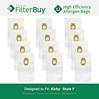 12 FilterBuy Kirby Style F Vacuum Bags. Kirby Universal Vacuum Bags, Kirby Part # 204808. Designed by FilterBuy to fit Kirby Upright Vacuum Cleaners