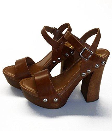 fibbia marrone legno Zoccolo vero con colore pelle in SilferShoes e z0qtt