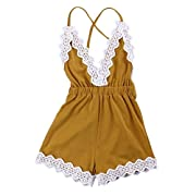 MiyaSudy Newborn Baby Girls Halter Romper Lace Jumpsuit Summer Clothes Outfits