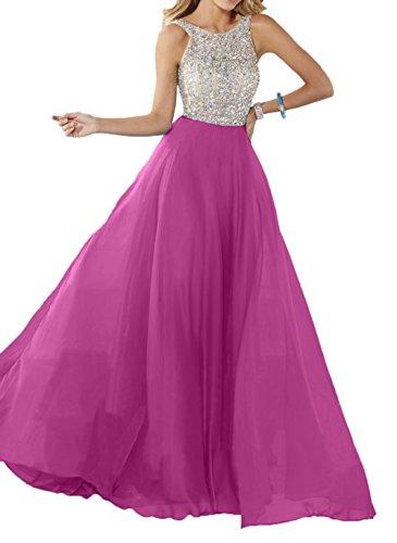 A mit Promkleider Pink Ballkleider Linie Steine Silber Blau Damen Partykleider Charmant Chiffon Abendkleider Langes HqvwTCR8