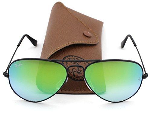 Ray-Ban RB3025 Aviator Flash Lens Gradient Unisex Sunglasses (Black Frame / Green Gradient Flash Lens 002/4J, - Black Frame Lens Rb3025 Green