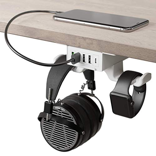 HumanCentric Headphone Stand with USB Charger (White) | Under Desk Headset Hanger and Mount with USB-C, USB-A and QC 3.0...