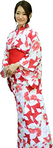 sakura Women Japanese Yukata Pre tied obi belt set with sandals / Red flower pattern by Sakura