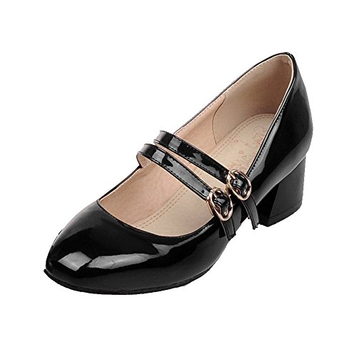 Pumps Kitten Toe Solid Patent WeiPoot Square Shoes Heels Closed Buckle Black Leather Women's qIzq5xwv