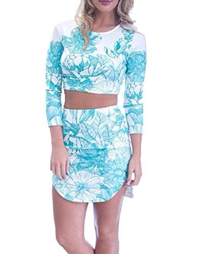 RedExtend Women's Printed Top & Skirt Set 2 Pieces Party Beach Dress