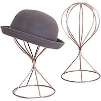 MyGift Set of 2 Modern Metal Hat Stands, Tabletop Decorative Wig Holders