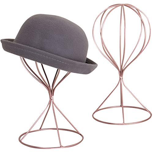MyGift Set of 2 Modern Rose Gold-Tone Metal Hat & Wig Stands