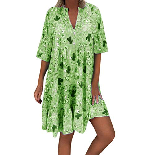 (Sunhusing Women's Stylish V-Neck Print Small Floral Ruffled Button Stitching Loose Large Swing Mini Dress Green)