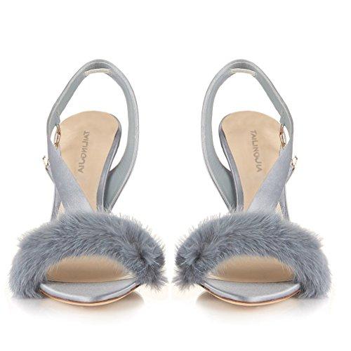 Aguja Tacón Zapatos Satén eu46 Tamaño Sexy Abiertos Felpa La Alto eu45 Corte Gran Oficina Eu40 Sandalias silver De IxOPtq4wqz