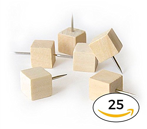 [Cube Style Wood Push Pins Minimal Wooden Thumb Tacks for the Modern Office, Home and School (25)] (Cork Board Push Pins)