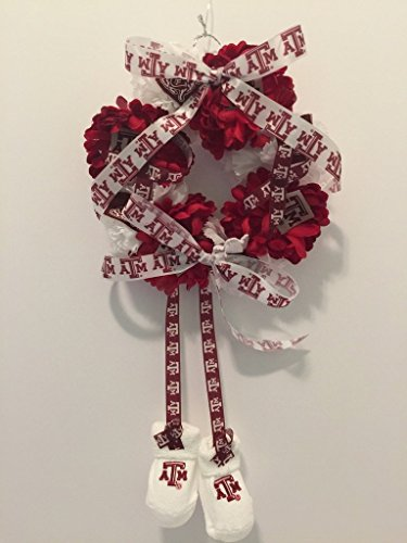 Collegiate Newborn Wreath - Texas A&M University- Aggies - A&M - Burgundy & White flowers - Baby Gift, Nursery Decor, It's a Girl Wreath, It's a Boy Wreath, Baby Shower Decor, Baby Girl, Baby Boy