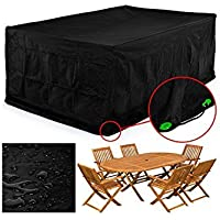 FEMOR Rectangular Patio Table & Chair Set Cover, Durable and Water Resistant Fabric Outdoor Furniture Cover