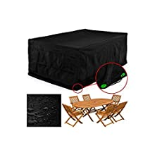FEMOR Rectangular Patio Table & Chair Set Cover, Durable and Water Resistant Fabric Outdoor Furniture Cover, Large