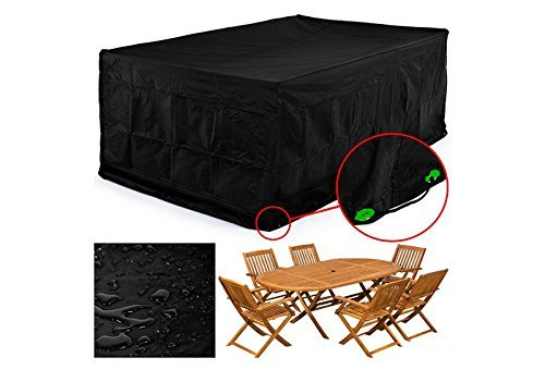 FEMOR Rectangular Patio Table & Chair Set Cover, Durable and Water Resistant Fabric Outdoor Furniture Cover, Large (Table Bench Patio With And Chairs)