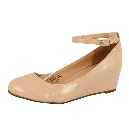 Womens Retro Comfort Low Heel Platform - Ankle Strap Round Closed Toe - Mary Jane Pumps-Shoes Pumps-Shoes (8 B(M) US, Nude - Women Retro Nude
