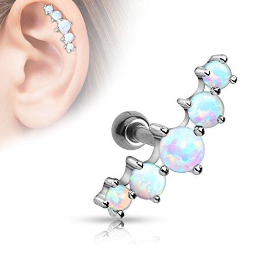 Coolbodyart Cartilage Haltère Oreille Acier de chirurgie argent avec cinq Opales multi couleur
