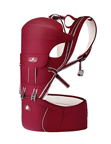 Baby Carrier with Hip Seat Ergonomic 7 Positions for Infant & Toddler Soft Cotton for All Seasons Red by Luly