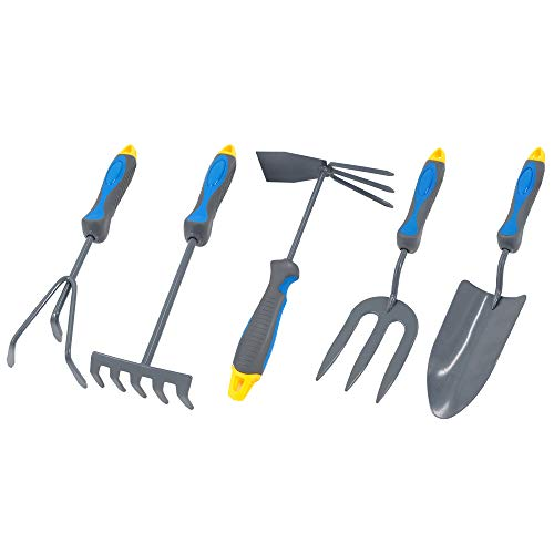(Sprinfy 5PCS Gardening Tools Set- Heavy Duty Carbon Steel Hand Garden Tools Including Garden Trowel, Cultivator, Fork, Rake, Garden Hoe, Gardening Gifts for Men and Women)