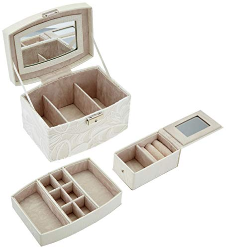 Krissy/&Co Vintage Jewelry Box with Two Layers for Earrin... Ivory Faux Leather
