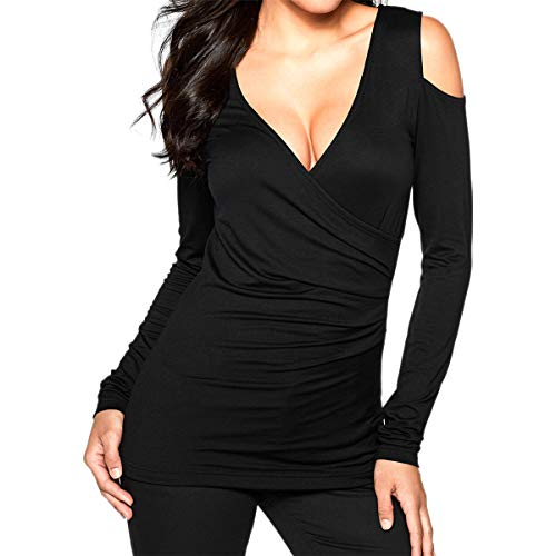 Womens Casual V Neck Cold Shoulder Bodycon Shirred Belly Long Sleeve T Shirt Tops and Blouse(Black,S-XXL) -