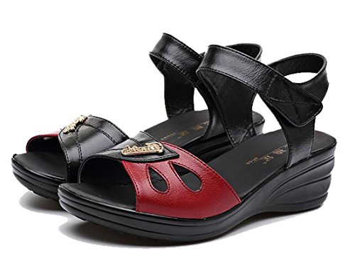 Respeedime Sandals Leather Soft Middle-Aged Summer Women's Shoes Red/Black 8.5M