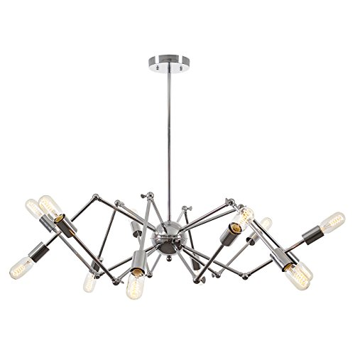 Light Society Arachnid 12-Light Chandelier Pendant, Chrome, Mid Century Modern Industrial Starburst-Style Lighting Fixture (LS-C111-CRM) ()
