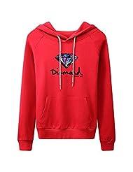 Wowforu Women Dianmond Kangaroo Pocket Pullover Sweatshirt Hoodie 9 Colors