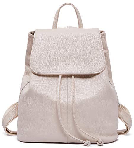 Genuine Leather Backpack for Women Elegant Ladies Travel School Shoulder Bag Off White