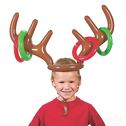 Vovomay Inflatable Reindeer Christmas Hat Antler Ring Toss Holiday Party Game Toys