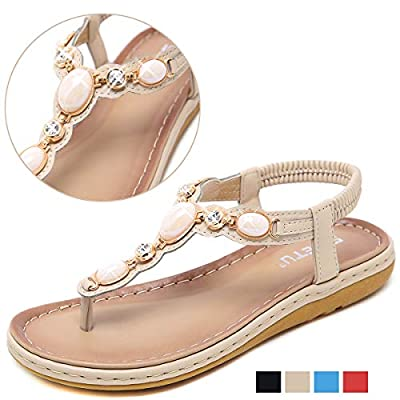 Yozai Womens Summer Flat Rhinestones Flip-Flops Jeweled Sandals