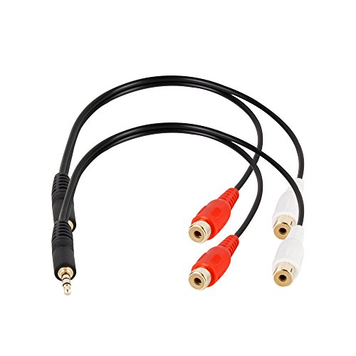 2-Pack 3.5mm 1/8 Stereo Male Mini Plug to 2 Female RCA Jack Adapter Audio Y Cable - Gold (2 Stereo Jacks Mini)