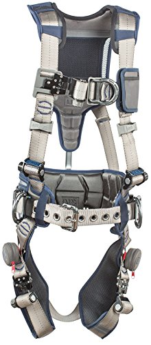 (3M DBI-SALA 1112541 ExoFit STRATA, Aluminum 4 D-Rings, Tri-Lock Revolver QC Buckles with Sewn in Hip Pad/Belt, Medium, Blue/Gray)