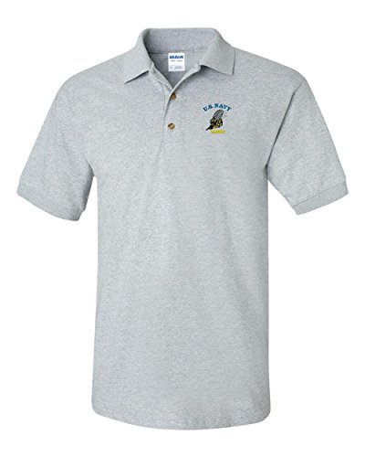 US NAVY SEABEES Custom Personalized Embroidery Embroidered Golf Polo Shirt (Sea Grey Satin)