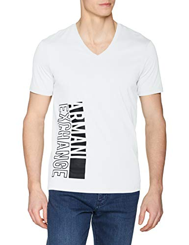 A|X Armani Exchange Men's Short Sleeve V-Neck Large Logo T-Shirt, White, M ()
