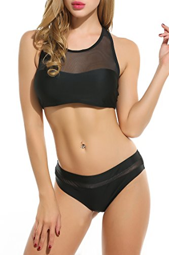 Avidlove 2017 High Neck Mesh Bikini Top+Bottom Two Piece Women Sexy Swimwear