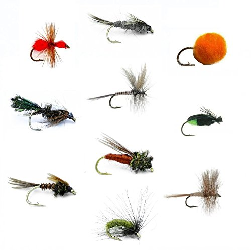(Feeder Creek Fly Fishing Flies Set of 30 for Trout and Freshwater Fish - 10 Patterns - Pheasant Tail, Zug Bug, Caddis Pupa, March Brown, Quill Gordon, Red Ant, Egg, Black Crowe, Hendrickson - Sold)