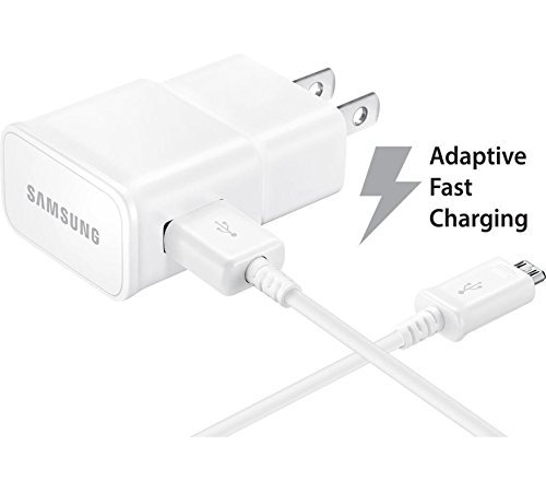 T-Mobile Samsung Galaxy J7 Adaptive Fast Charger Micro USB 2.0 Cable Kit! [1 Wall Charger + 5 FT Micro USB Cable] AFC uses dual voltages for up to 50% faster charging! - Bulk Packaging by NEM