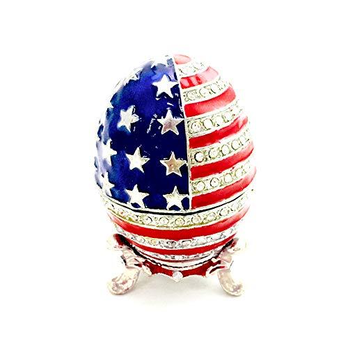Creative Trinket Box Egg Shape American Flag Design Jewelry Organizer Container Enamel Jewelry Box
