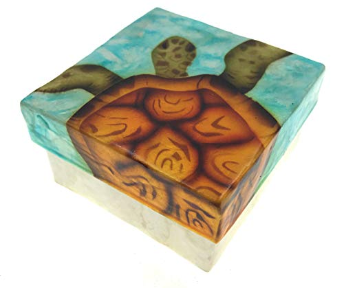 Kubla Craft Vibrant Sea Turtle Capiz Shell Keepsake Box, 3 Inches Square