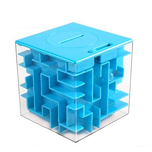 GoodPlay 3D Money Box Creative Labyrinth Piggy Bank, Money Maze Cube Bank, Maze Puzzle Box Unique Brain Teaser Puzzles Games Gift for Kids and Adults (Blue)