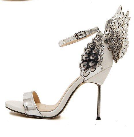 chaussures talons chaussures Open à sandales ailes des trois avec silver femmes d'ange en chaussures WSK Toe fins Heels Mme talon boucle dimensions papillon pour mot TwqAPOvxa