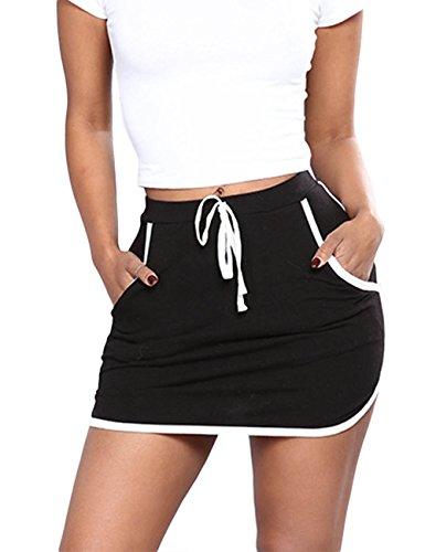 Jean Skirt Skort (XXXITICAT Womens Fitness Athletic Active Tennis Golf Mini Skirt Lightweight Skorts with Pockets(BL,2XL))