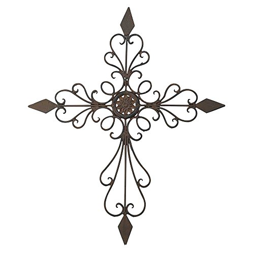 (Cross Filigree Tapered Antiqued Brown 20 Inch Metal Decorative Hanging Wall)