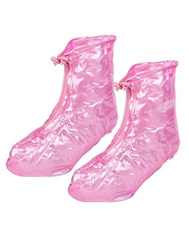 Women Cycling Pink PVC Waterproof High Heel Shoes Cover Rain Boot Pair Pink,white