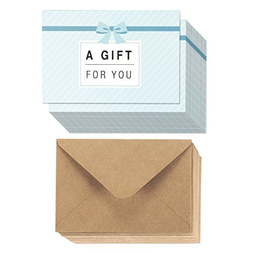 Juvale 36-Pack Paper Gift Certificates - Gift Cards for Businesses, Personal Gift-Giving, Seasonal Holiday Use, 36 Brown Kraft Paper Envelopes Included - 4 x 6 Inches ()