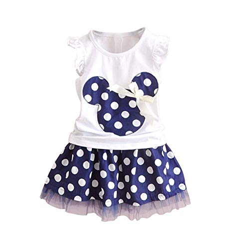 Baby Girls Polka Dot Dress Tulle Tutu Skirt Bowknot Ruffled Sleeve T-Shirt Tunic Skirt Two-Piece Set Size 2T/100cm Navy Blue