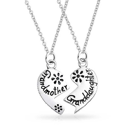 Split Heart Break Apart Puzzle Gift Engrave Word Grandmother Granddaughter Pendant Necklace For Grandma Sterling Silver