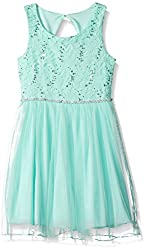 Girls Lace Sparkle Waist Party Dress